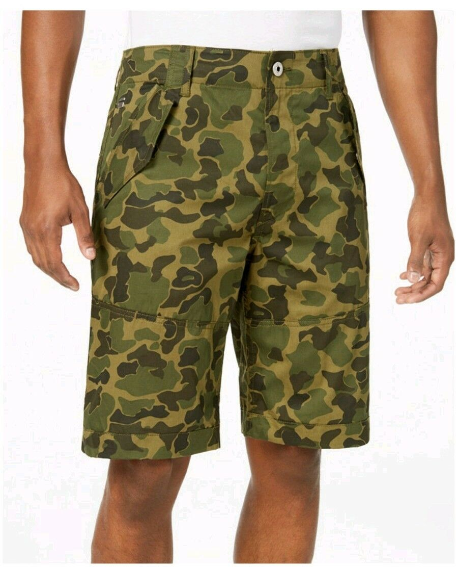 G STAR RAW Loose 34 Olive Camouflage Mens Flaps Shorts