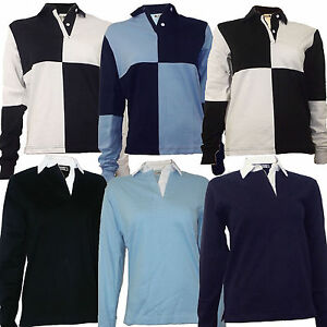 Rugby-Shirt-Ladies-Womens-100-Cotton-Size-S-to-2XL-Plain-or-Harlequin-New