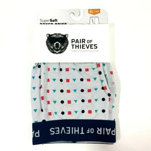 Pair of Thieves Mens Super Soft Boxer Briefs XL 38-40 Gray Shapes