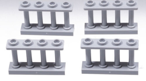 Lego 4 x clôture spindelzaun Grille 1x4x2 gris clair//Fence Spindled 15332 article neuf