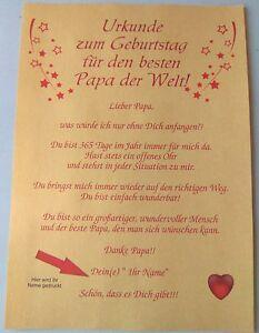 Urkunde Zum Geburtstag Fur Den Besten Papa Der Welt Goldenes Papier