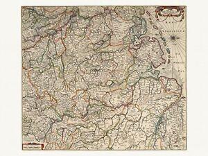 Details about Old Antique Westphalia Bremen Germany decorative map de Wit  ca. 1682