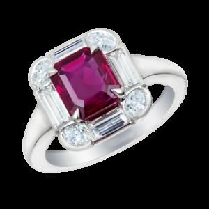 3.5Ct Emerald Cut Pink Ruby Diamond Halo Engagement Ring 18K White gold Finish