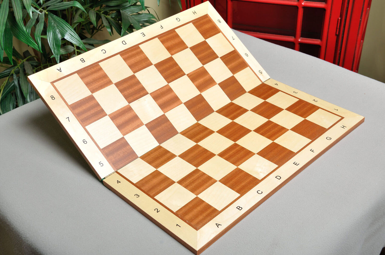 Folding Maple & Mahogany Wooden Chess Board - 2.25  With Notation