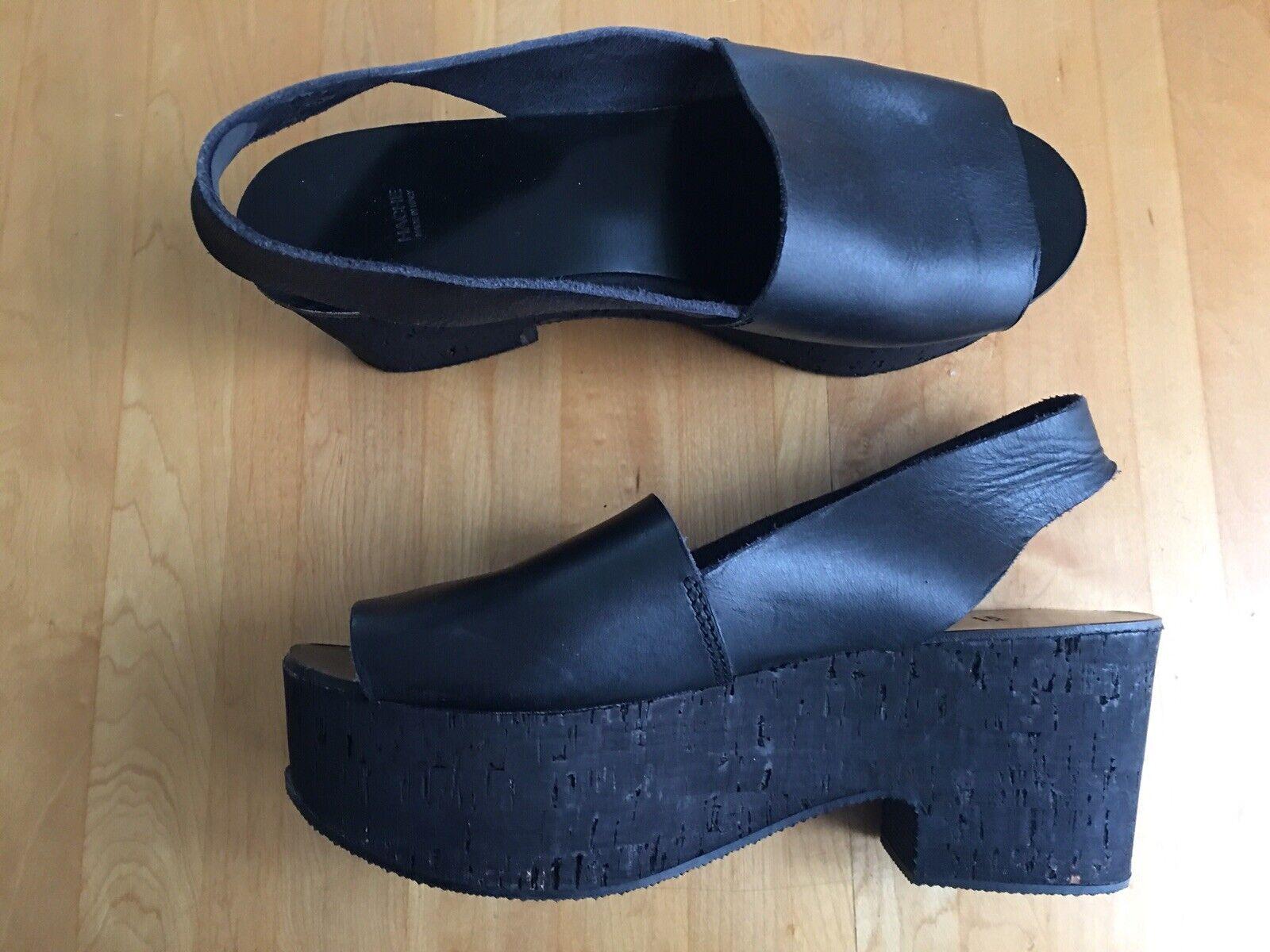 Hache Italian black leather flatform sandals with cork soles, 40 U.S. 10