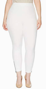 HUE Large White Ankle ZIp Simple Stretch Skimmer