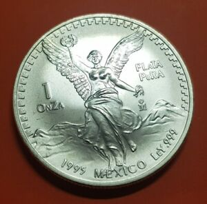 MEXICO-1-ONZA-1995-UNC-BU-LIBERTAD-ANGEL-ALADO-PLATA-Oz-Silver-Mejico-TROY-Unze