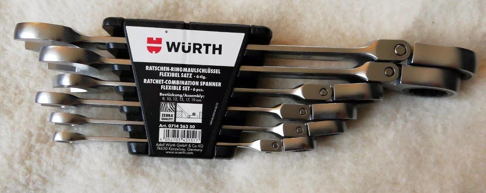 WÜRTH ZEBRA RATSCHEN RINGMAULSCHLÜSSEL Set 6tlg. FLEXIBEL SW 8,10,12,13,17,19mm
