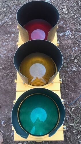 """Red Aluminum Traffic Signal 12/"""" Visors Stop Light W// Leds Hoods"""
