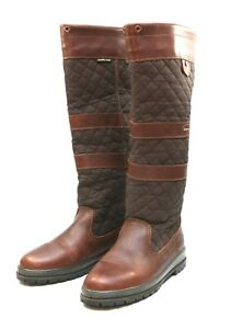 Ladies-Dubarry-Quilted-Country-Brown-Leather-Boots-UK-5-5