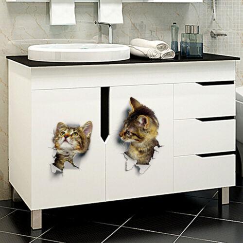 3Pcs 3D Cats Self Adhesive Kids Wall Stickers Decals DIY Decoration Art Murals
