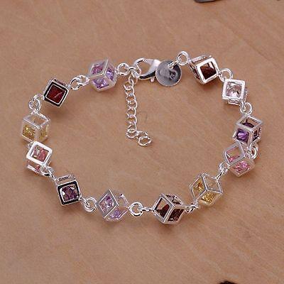Nice! Sterling Solid Silver Color Stone Bracelet DAH220 + box