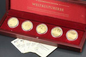 5-x-100-Goldeuro-Set-Weltkulturerbe-2004-2008-Full-Set-Box-Zertifikat-999-Gold