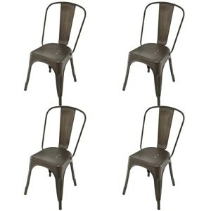 Image Is Loading 4Pcs Home Stackable Tolix Style Dining Chairs Bistro