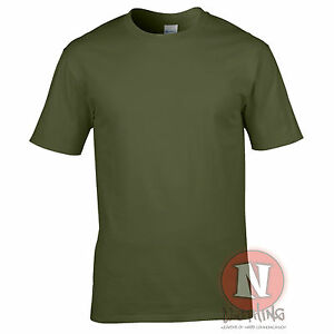 Military green heavy cotton unisex standard fit t shirt for Thick t shirts brands