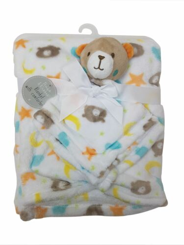 Newborn Girls Boys Soft Brown Bear Baby Comforter Security Snuggle Blanket Warm