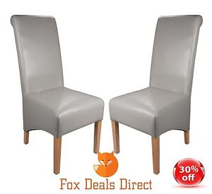 Dining Chairs Shankar Krista Pair Grey Leather Rollback