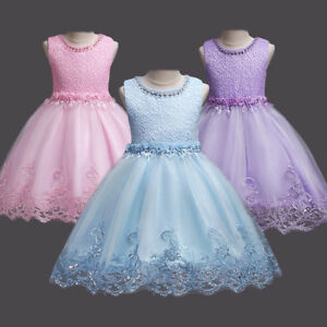 Image Is Loading Flower Lace Princess Dress Kids Party Pageant