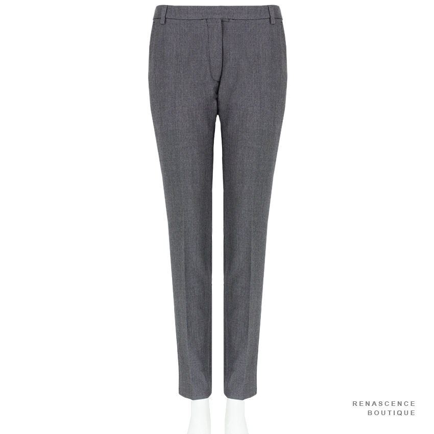 Dries Van Noten Charcoal Grey Tailored-Fit Zipped Hem Trousers Pants FR38 UK10