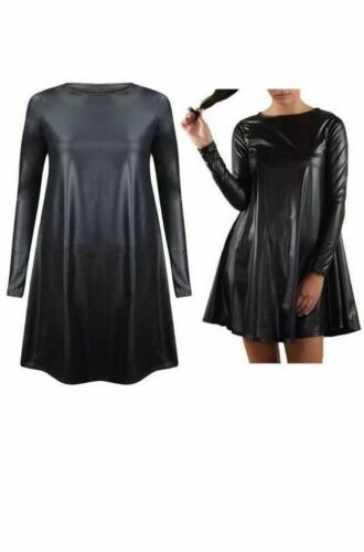 New Ladies Womens Wet Look Long Sleeve PVC Stretch Ladies Short Swing Dress