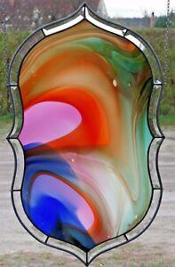 Bleiverglasung-Fensterbild-abstrakt-Hotspot-Medaillon-Antikglas-in-Tiffany