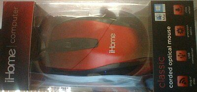 iHome Computer Classic Corded Optical Mouse- Red or Black