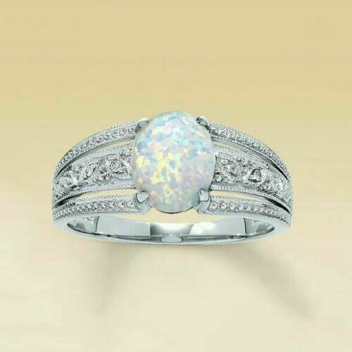 925 FILLED STAMPED SILVER SHINY OPAL STYLE RING SIZE N 1//2 .LIMITED NUMBER !