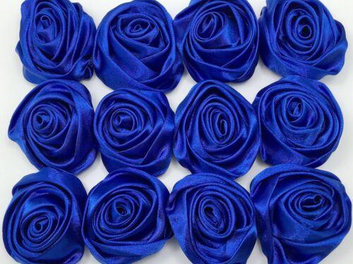 "12PC Azul 2/"" flores rosa de cinta de raso Hágalo usted mismo de boda traje de novia ramo 50mm"