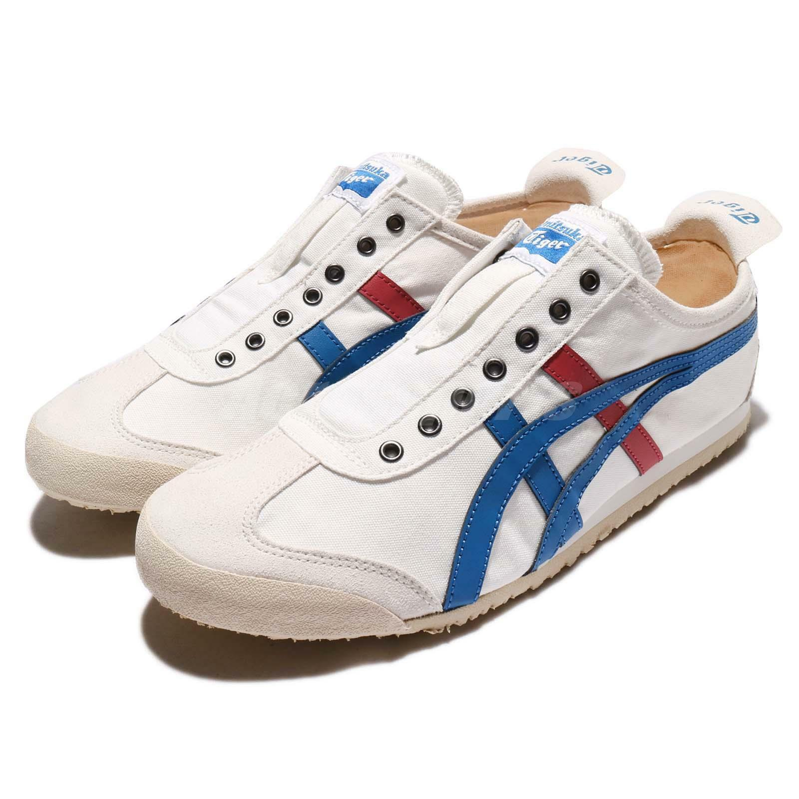 Asics Onitsuka Tiger Mexico 66 Slip-on blanc Navy rouge Hommes Décontracté Chaussures TH1B2N0143