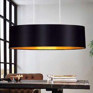 Design Pendel Leuchte Textil Schwarz Gold Wohnzimmer Hange Lampe E27