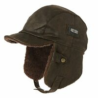 Siggi Pilot Cap For Men Winter Aviator Hat Adult Brown Leather Trapper Trooper