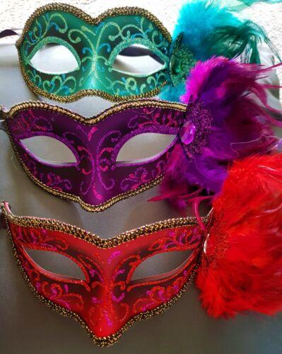 3 New Masquerade Halloween Feather Masks Fancy Dress Ball Hen Red Jade Purple