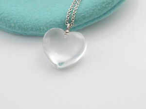 Tiffany co rare silver crystal heart pendant necklace pouch ebay image is loading tiffany amp co rare silver crystal heart pendant aloadofball Gallery