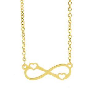 Damen Edelstahl Halskette mit Infinity Herz Love Liebe Anhänger - vergoldet