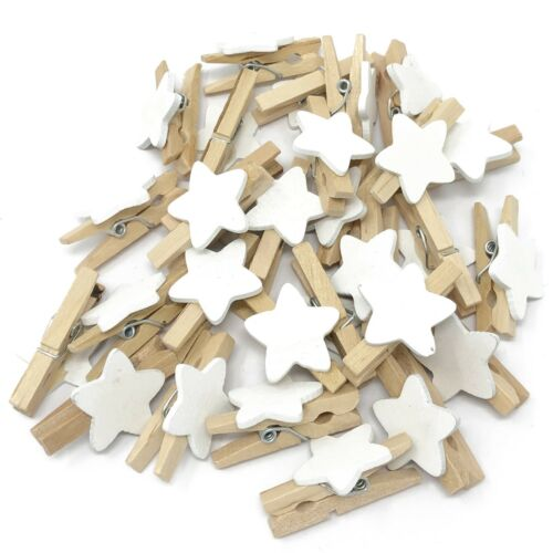 Mini 30mm Wood Clothes Pegs with 15mm White Star Craft ShabbyChic Embellishment