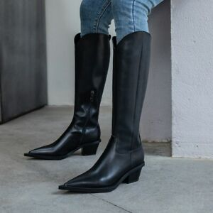 Vintage Women/'s Leather Chunky Heel Biker Knight Mid Calf Knee High Boots Shoes