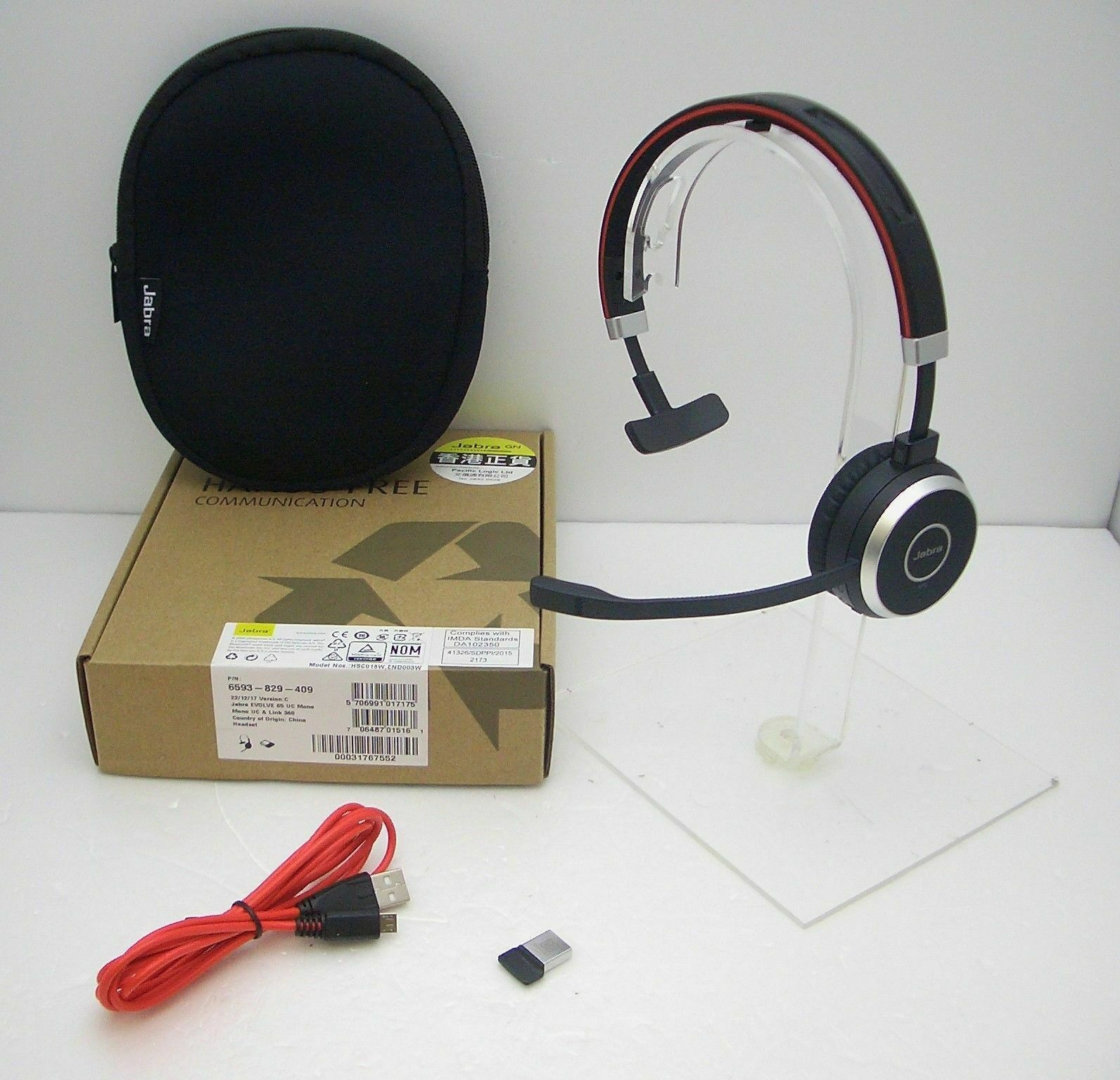 Jabra Evolve 65 Uc Mono Bluetooth Usb Pc Headset With Link 360 Usb Adapter New 706487015161 Ebay