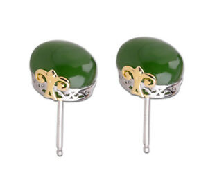 A03-Studs-Earring-Oval-Green-Jasper-Sterling-Silver-925-Partly-Gold-Plated