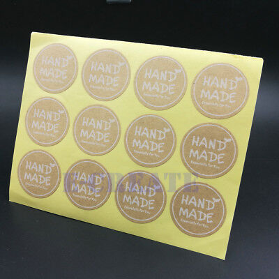 Round or Square Paper Labels white /'HANDMADE/' Gift Food Craft Stickers