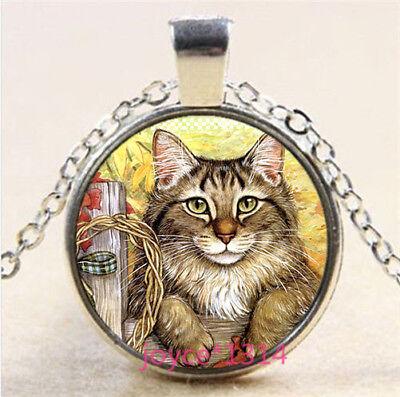 VINTAGE Witch Cabochon Tibetan silver Glass Chain Pendant Necklace #3265