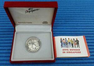 1991 Singapore Civil Defence Commemorative $5 Silver Proof Coin