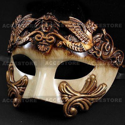 Gold White Roman Greek Emperor Men's Masquerade Venetian Half Face Mask