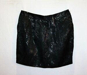 Portmans-Brand-Metallic-Black-Textured-Mini-Skirt-w-Pockets-Size-14-BNWT-RI09