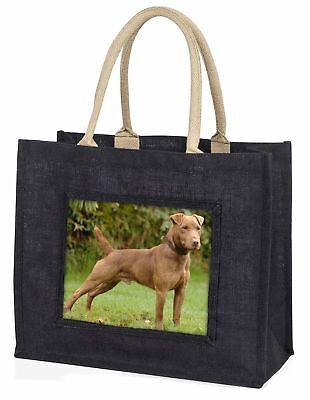 Patterdale Terrier Hund große schwarze Einkaufstasche Weihnachtsgeschenk