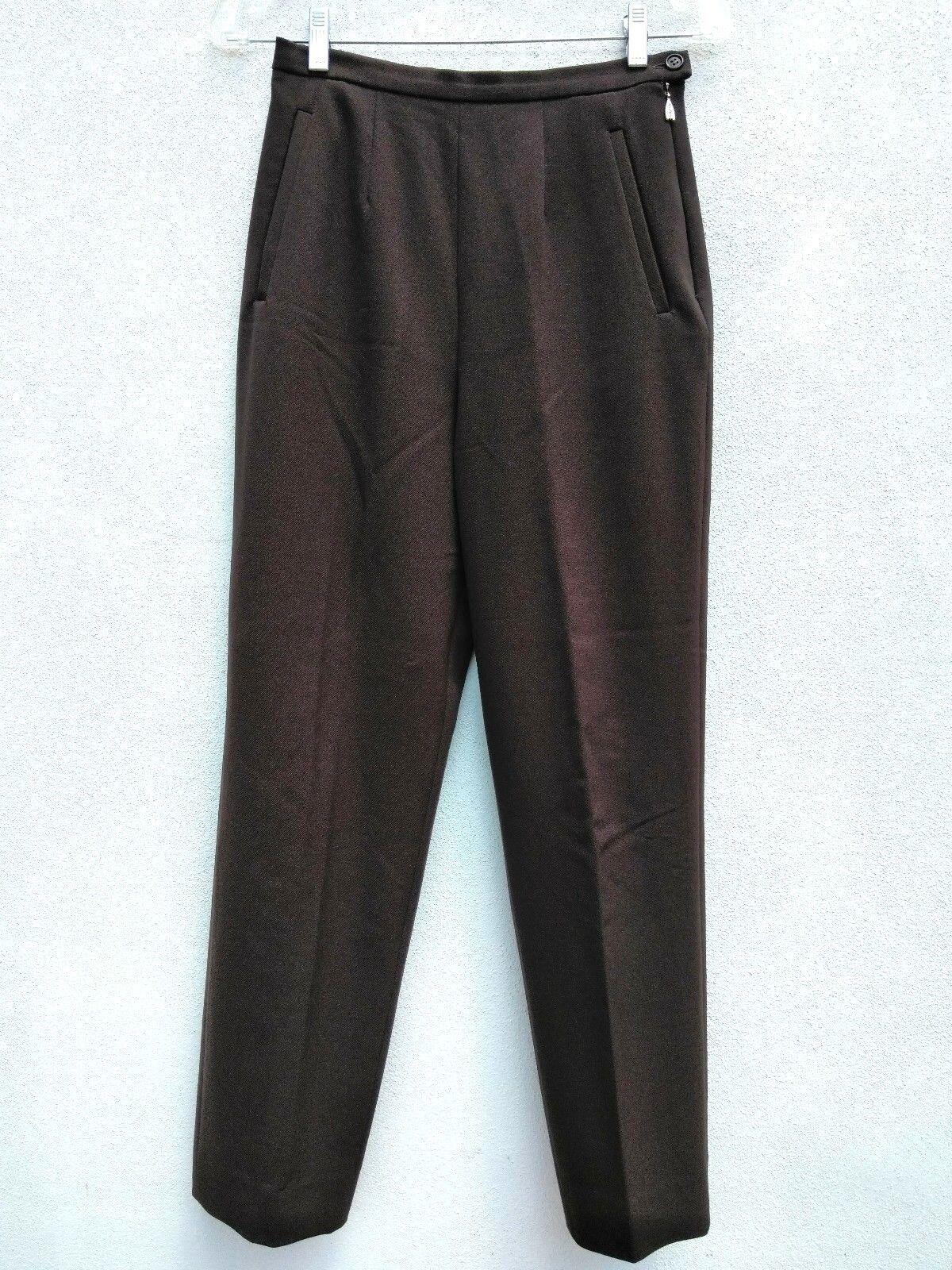 MAX MARA Womens STRETCH WOOL TWILL HIGH WAIST FLAT FRONT TROUSERS Dress Pants 2