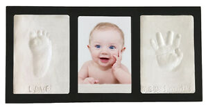 Black-Clay-KEEPSAKE-amp-PHOTO-WALL-FRAME-KIT-No-Bake-Air-Dry-Footprints-Handprint