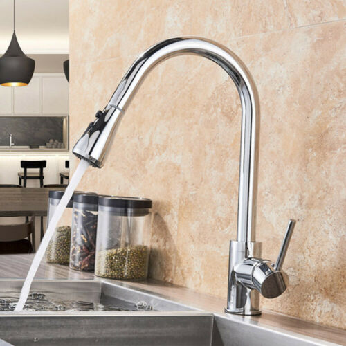 Chrome Kitchen Sink Faucet Single Handle Pull Out Sink Mixer Tap Stream//Spray