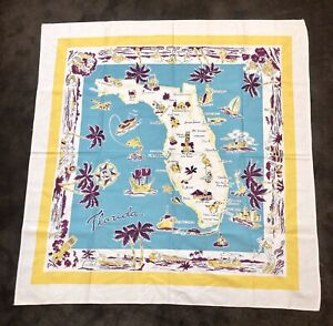 MCM-50s-Kitsch-Florida-51-Tablecloth-Wall-Art-Key-West-To-Ensacola-Mid-Century
