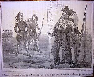 CHAM-Lithographie-Le-Charivari-Caricature-XIXe-Le-Cosaque-met-son-sabre