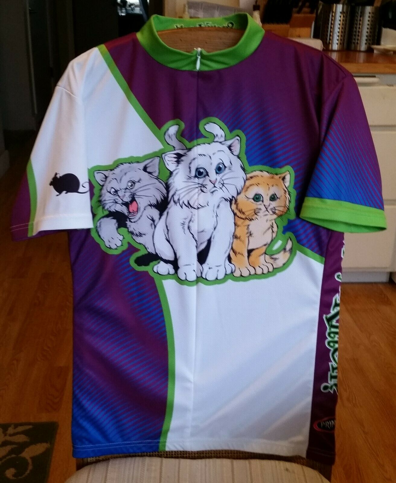 Primal Wear. Women's XL. 18  Zip. Short Sleeve Cycling Jersey. Kittens. Rare NWT